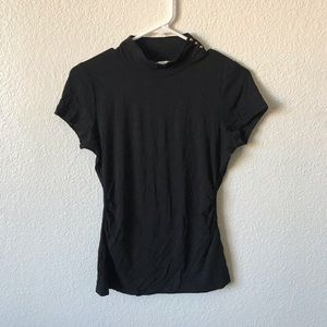 WHBM black stretchy mock neck top